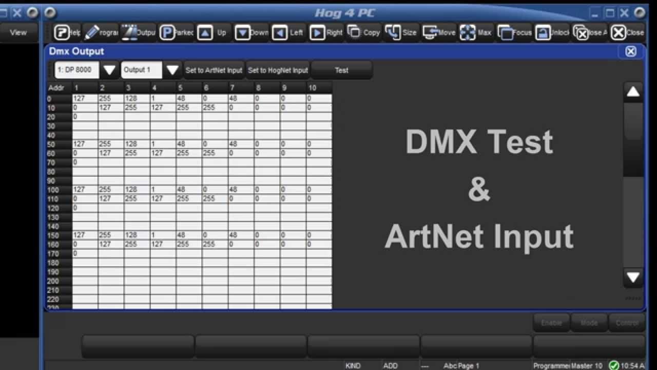 HOG 4 Tutorial 23 - DMX Test & ArtNet Input - YouTube