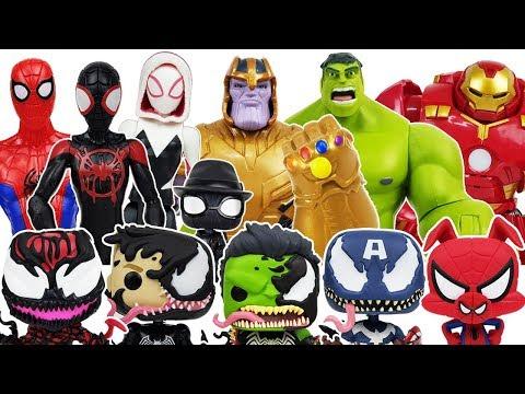 Thanos & Spider-Man Into the Spider-Verse, Avengers, Hulk, Iron Man,Venom, Tayo Toys Play