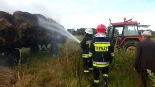 Pożar przyczepy z sianem