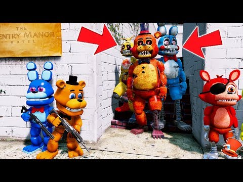 CAN FNAF WORLD HIDE FROM THE NIGHTMARE TOY ANIMATRONICS? (GTA 5 Mods For Kids FNAF RedHatter)