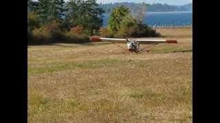 Denman Island, BC...Lone Pine farm...small airplane landing behind the house