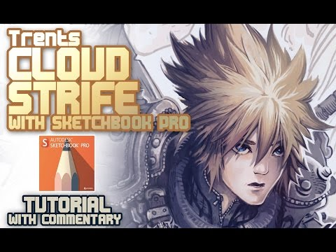Cloud Strife redesign Final Fantasy 7 (commentary + sketchbook tips)