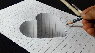 How to Draw Hole Heart Shape - 3D Art for Kids