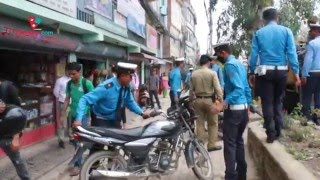 Traffic Police collects Bike which are placed in footpath at Kathmandu, Anamnagar Medianp.com