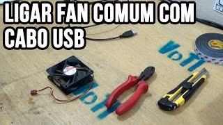 Como ligar cooler com cabo USB (fan com cabo USB)