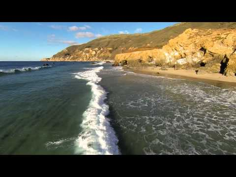 Long and Low Flight Across Big Sur Beach (Music)