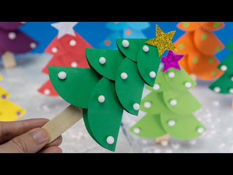 How to Make a 3D Paper Xmas Tree DIY Tutorial | Paper Christmas Tree | Christmas Decorations Ideas