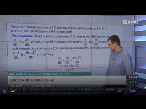 11 клас. Алгебра. Відсоткові розрахунки.