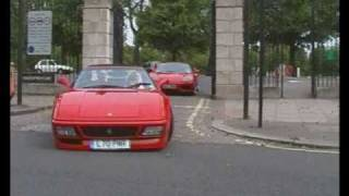 Supercars in London accelerating away from Hyde Park