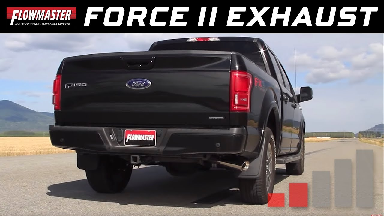Flowmaster force ii cat back exhaust system 2015 2018 ford f 150 5 0l tivct 817727 youtube