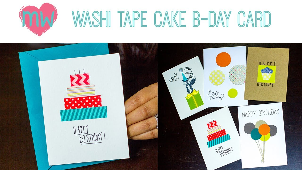 Card Making Ideas Using Washi Tape Part - 36: Washi Tape Cake Birthday Card