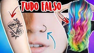 KIT FAKE: COMO FAZER PIERCING FALSO, CABELO COLORIDO FAKE E TATUAGEM FALSA