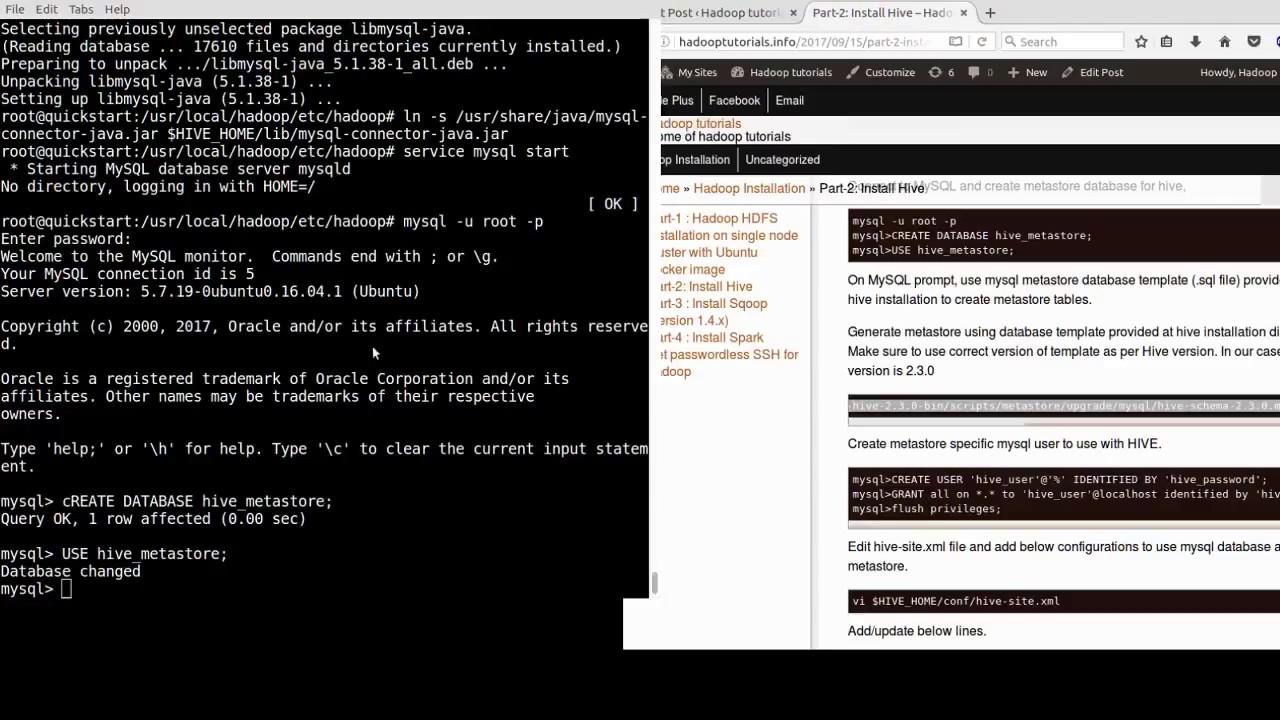 5  Install Hive - Create mysql Hive metastore database