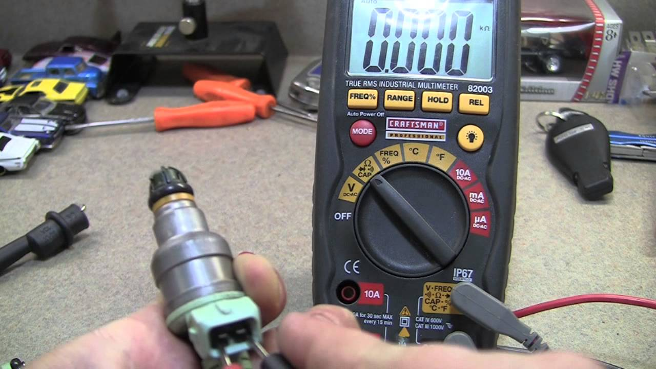 Using A Multimeter To Test Fuel Injector Resistance Ohms 5 0 Injection Wiring Harness Youtube