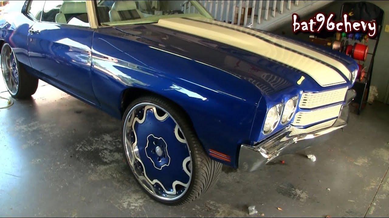 """ULTIMATE AUDIO: Blue/White 71 Chevelle SS on 26"""" Forgiatos ..."""