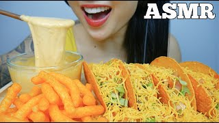 ASMR CHEESY TACOS WITH CHEESE SAUCE + CHEESE PUFFS (EATING SOUNDS)  NO TALKING | SAS-ASMR
