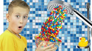 Alex pretend play Hand Shower m&ms + more Funny Kids Video