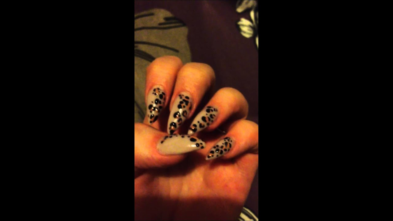 Acrylic Nails Stiletto Acrylics Leopard Print Acrylic Nai Youtube