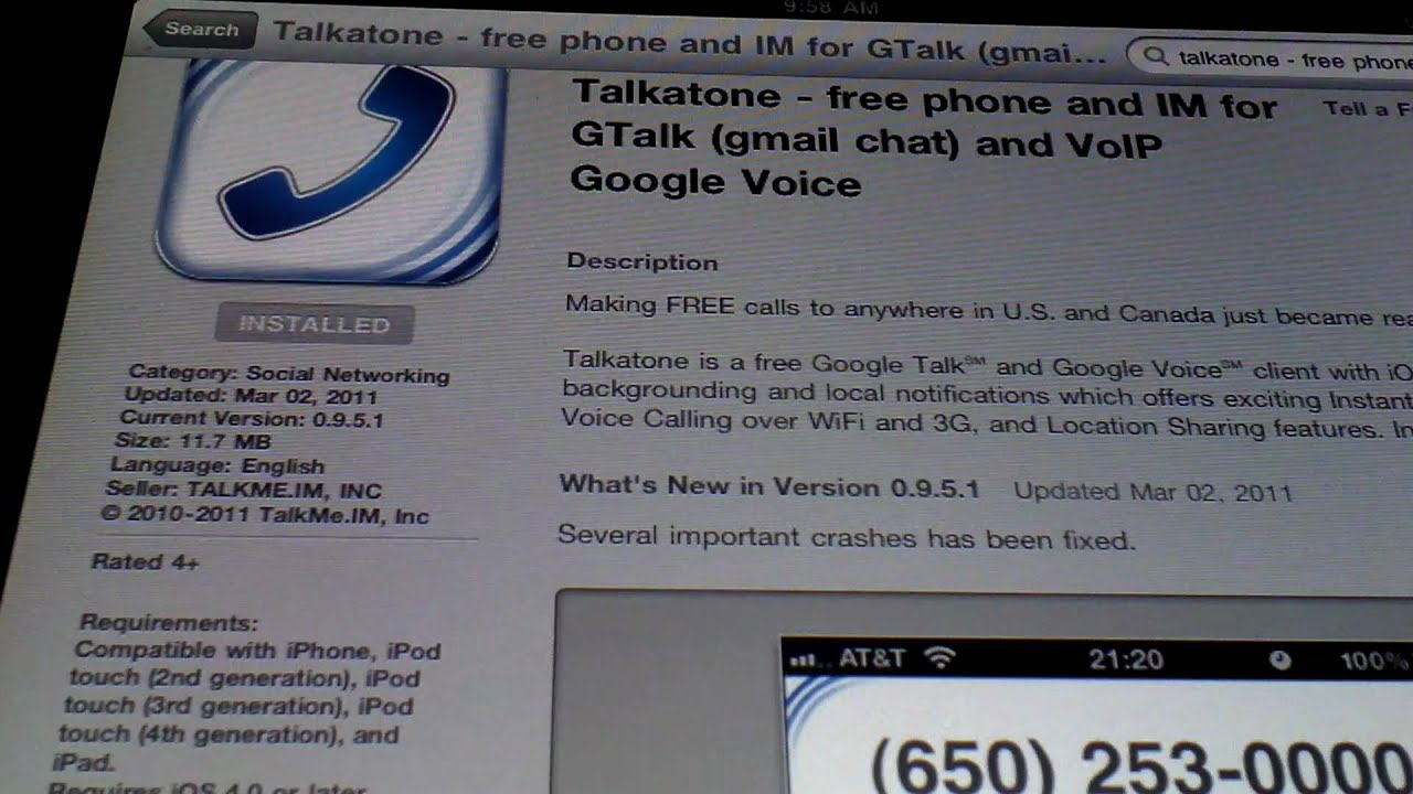 Free Google Phone Calls using Talkatone on iPad / iPad 2 / iPhone / iPod  Touch HD