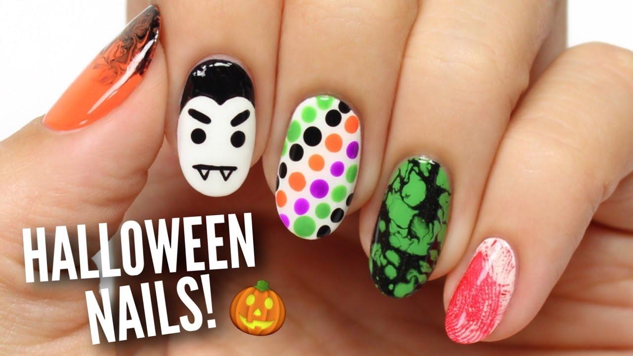 5 last minute halloween nail art designs! - youtube