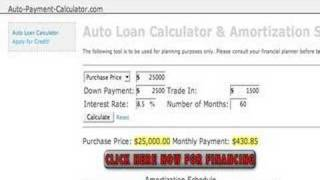 Auto Payment Calculator - Amortization Schedule