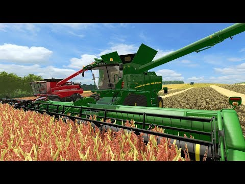 FARMING SIMULATOR 2017 | BUSY FARM DAY | MILLET HARVEST WITH 2 COMBINES ROLLING | EP# 13