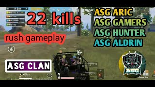 PUBG MOBILE 22+ KILLS WITH ASG CLAN  ASG GAMERS @MR ARIC @ASG HUNTUR @ASG ALDRIN
