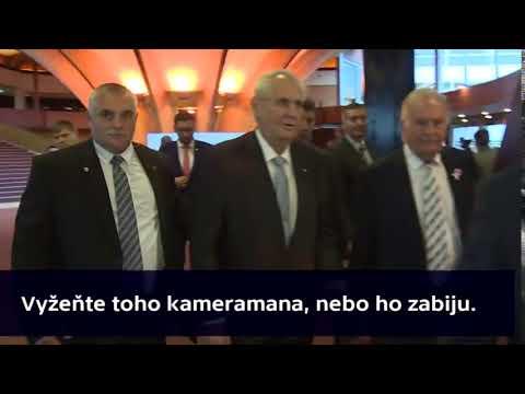"""Miloš Zeman """"Vyžeňte toho kameramana nebo ho zabiju"""" ŠTRASBURK 2017"""