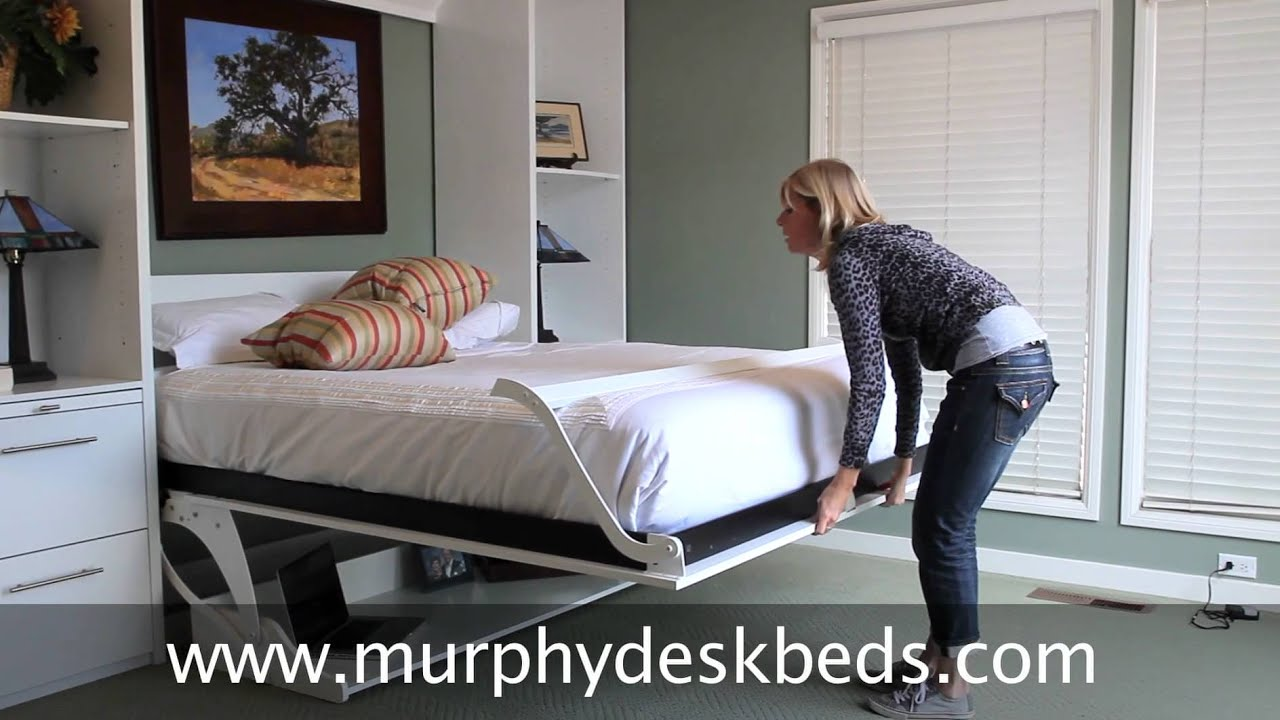 Murphy DeskBeds Queen Vertical In White   Murphy Bed With A Modern Twist    YouTube