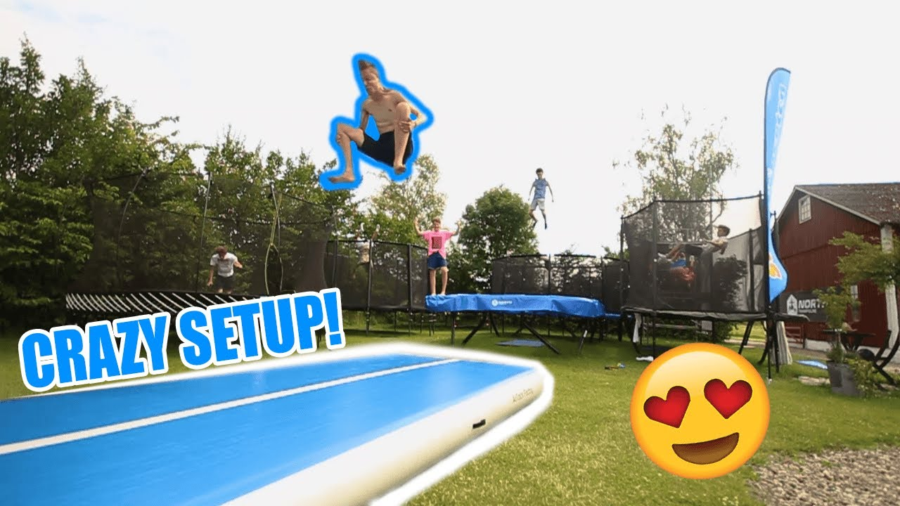 the dream backyard airtrack 7 trampolines youtube