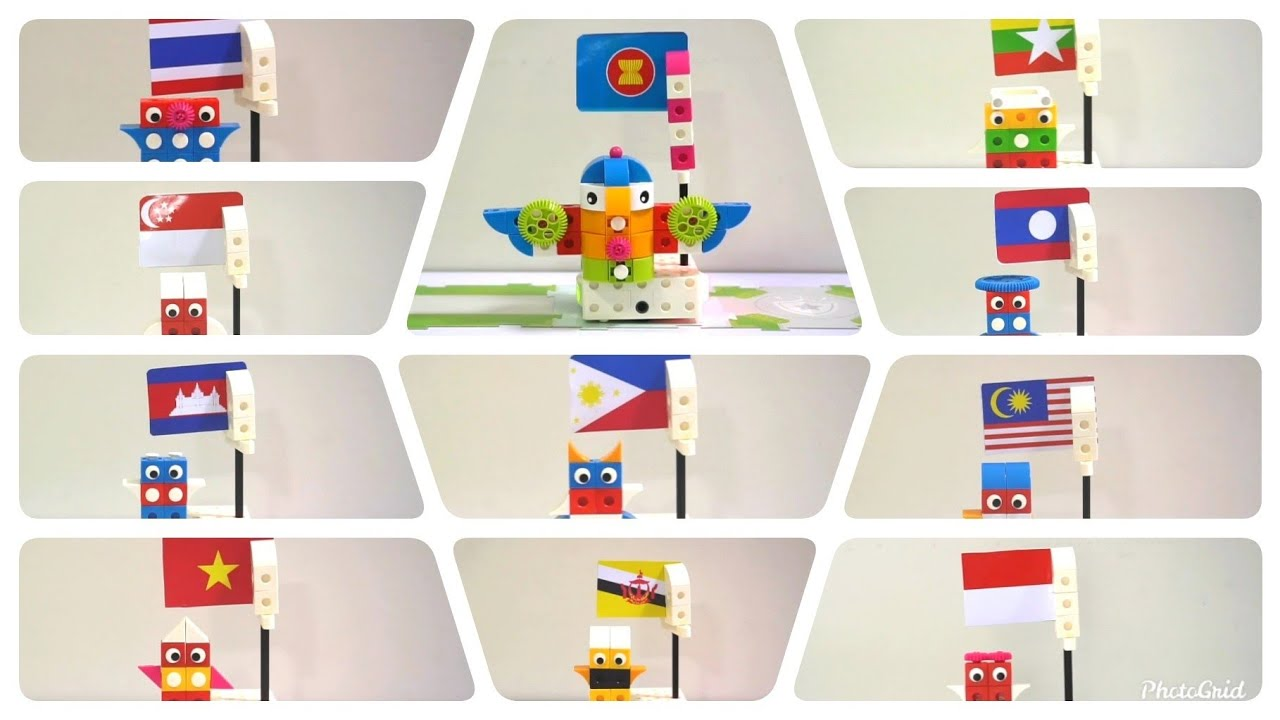 ASEAN Flags Coding Robot Toy play for kid imaginations, Education Toy