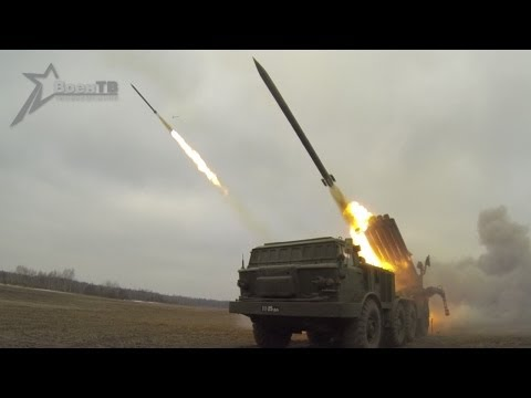 """Ураган"" накрыл Полесье (Hurricane In Polesye: Multiple Rocket Launcher ""Uragan"" Firing)"