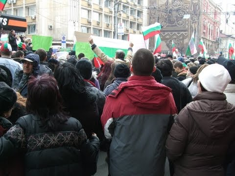 Protest in Sofia against high electricity bills 17.02.2013 long version