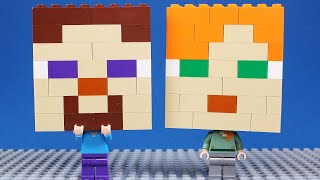 Lego Minecraft Steve and Alex Brick Building Big Heads