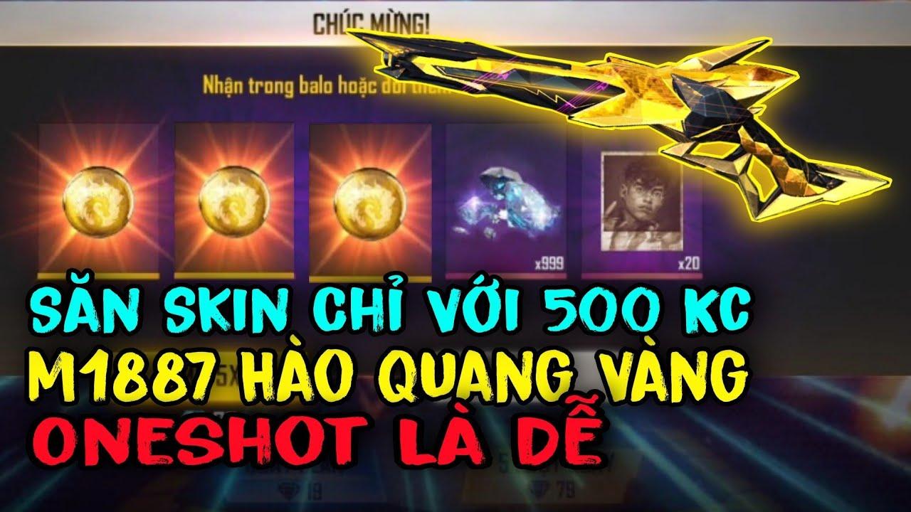 (FREEFIRE) Skin M1887 Hào Quang Vàng Oneshot Là Dễ , Chỉ Tốn 500 Kc Là Săn Được Skin Vip?   Nam Lầy.