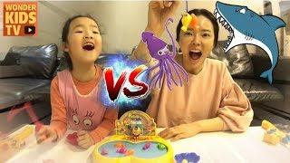미션! 뽀로로 잡기! 뽀로로 낚시게임. 엄마 vs 재이 대결. 낚시대로 뽀로로 잡는 뽀로로 무빙낚시게임 pororo fishing game battle toy