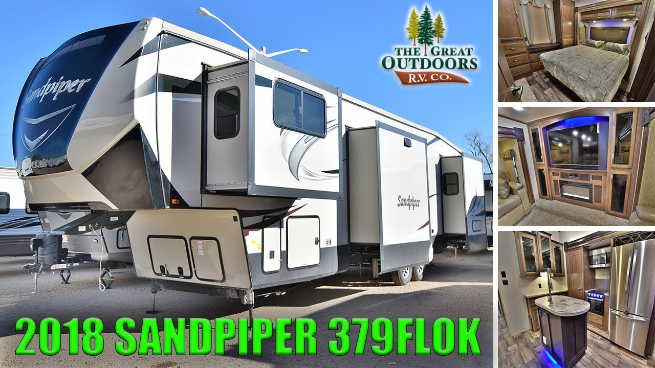New 2018 front living room sandpiper 379flok outside kitchen fifth wheel rv camper colorado dealer