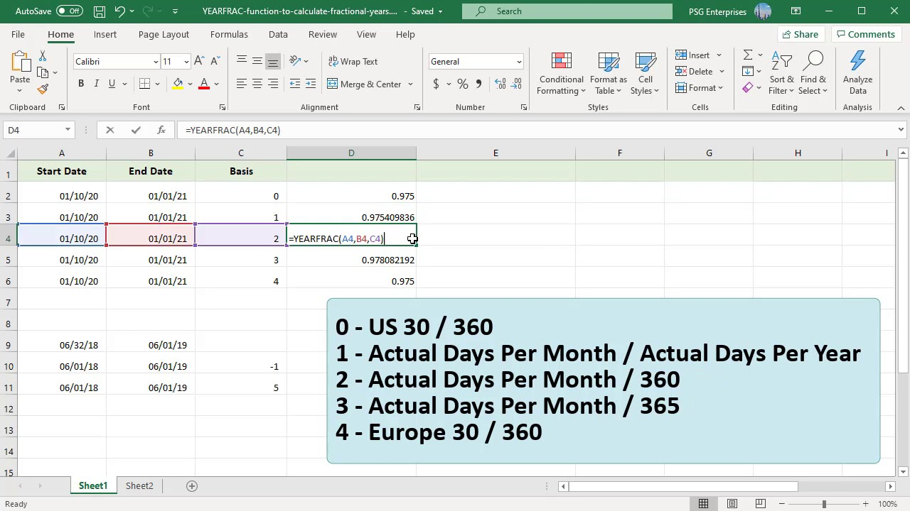 How to Calculate fractional years between two dates using YEARFRAC function  in Excel   Office 20