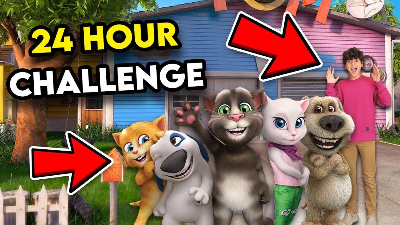 24 HOUR CHALLENGE INSIDE TALKING ANGELA AND TALKING TOM HOUSE!! *BAD IDEA*