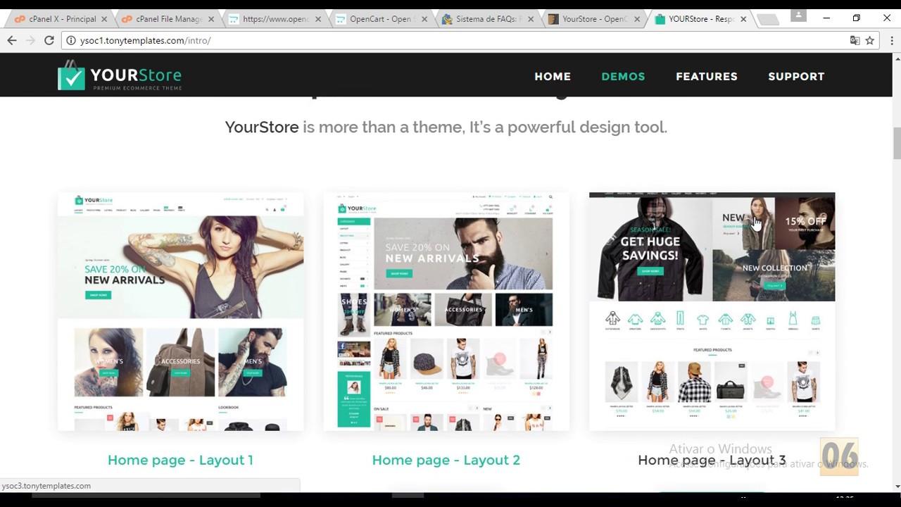 Themeforest Instalar YourStore - OpenCart theme