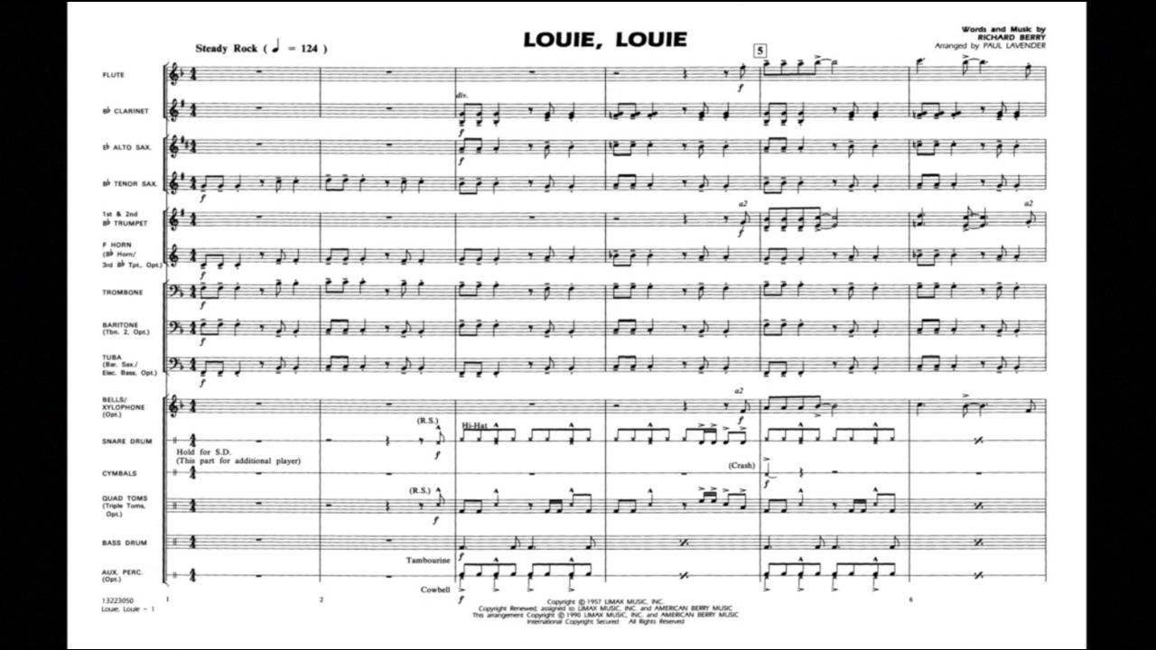 Louie, Louie by Richard Berry/arr  by Paul Lavender