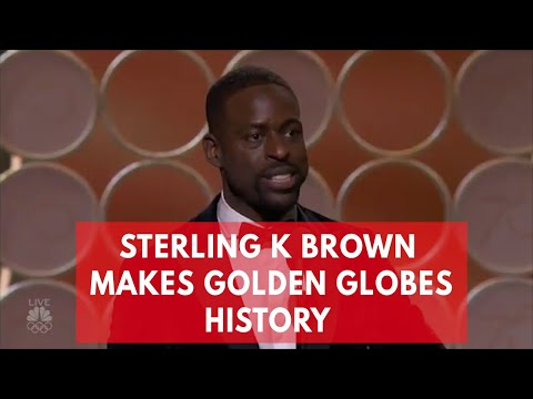 Sterling K Brown makes history at Golden Globes as first black man to win best actor in TV drama