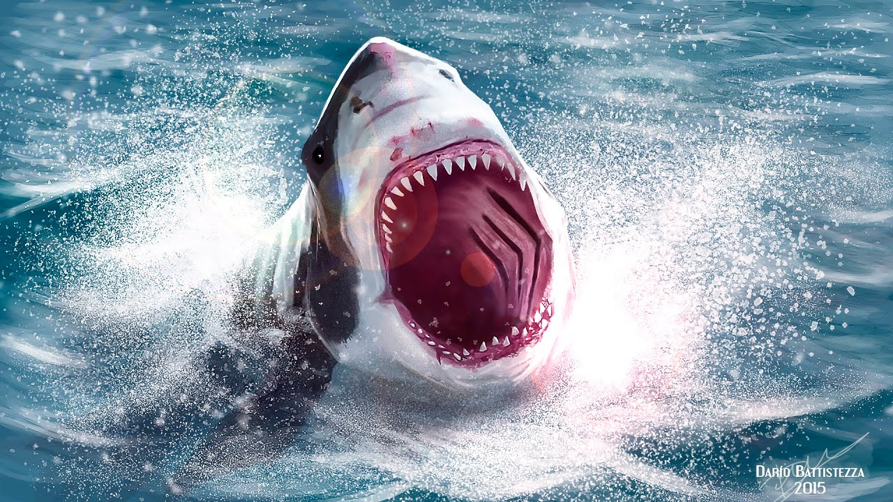 Incredible white shark attack speed painting photoshop for Picture great