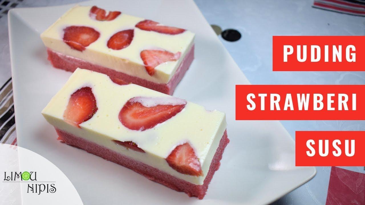 Puding Strawberi Susu By Limau Nipis