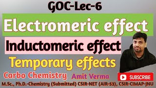 Electromeric effect  & Inductomeric effect|Temporary effects in organic chemistry|GOC-Lec-6|NEET|JEE
