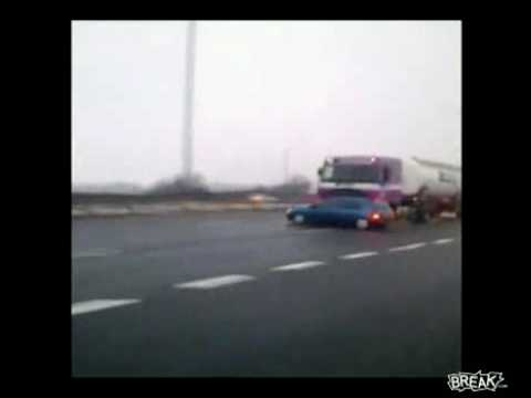 Watch Truck Driver Pushes Car Down Highway