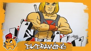 How to draw He-Man Graffiti Letters & the superhero Character