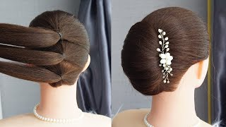 Big French Bun Hairstyle With New Trick Simple French Roll Hairstyle Step By Step Easy Hairstyle