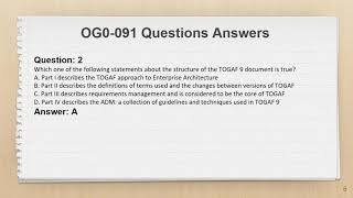 TOGAF 9 Certification OG0-091 Exam Questions