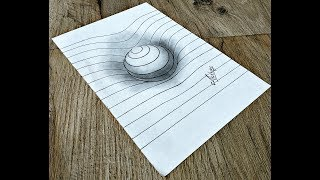 How to draw a 3D Sphere with Lines - 3d trick art on paper - Art Maker Akshay